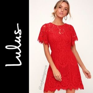 🆕 Lulus ❤️ Red Pearson Lace Cocktail Minidress